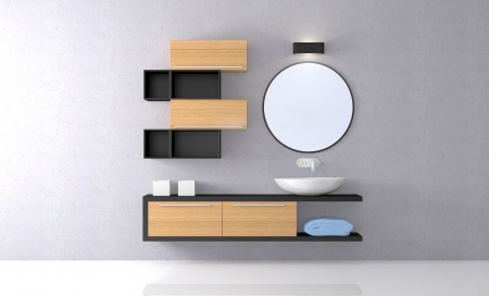 mirror on wall: front view of a sunny modern bathroom  3d render  Stock Photo