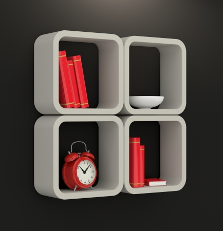 one modern bookshelf on a dark wall  3d render  Stock Photo - 23945320