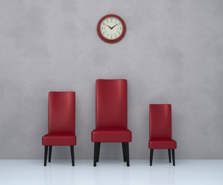 precedence: one room with three leather chairs in different sizes and a big wall clock  3d render