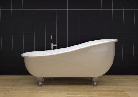 one bathroom with a vintage bathtub (3d render) photo