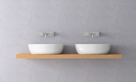 on tap: front view of two sinks on a shelf and two modern faucets on the wall (3d render) Stock Photo