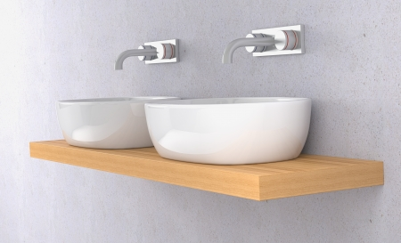 double sink: side view of two sinks on a shelf and two modern faucets on the wall (3d render)