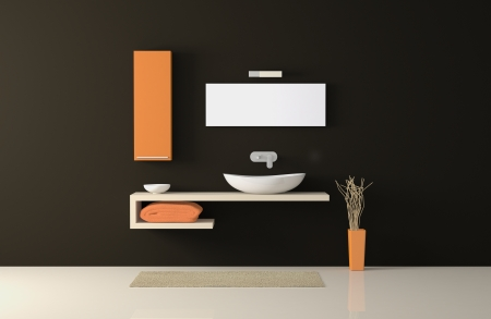 front view of a modern bathroom (3d render) photo