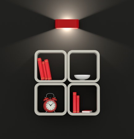 one modern bookshelf on a dark wall, illuminated by a modern lamp (3d render) photo