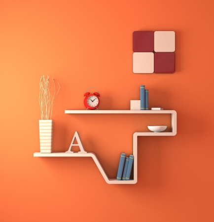 one modern bookshelf on an orange wall (3d render) photo