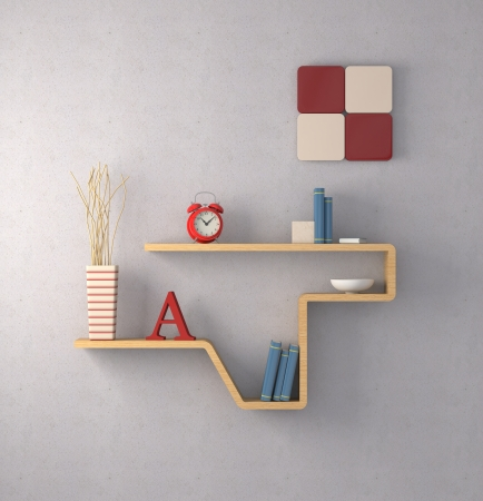 one modern bookshelf on a concrete wall (3d render) photo