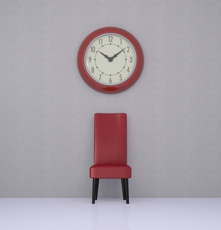 one room with a leather chair and a big wall clock (3d render) photo