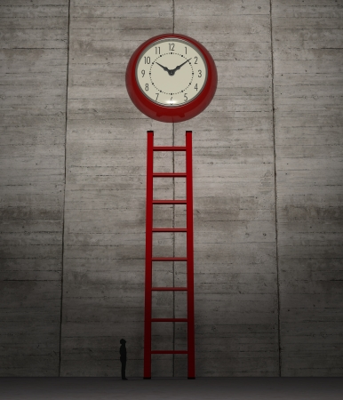 one high wall with a stair and a big wall clock, with a human silhouette, concept of deadline or the passing time (3d render)