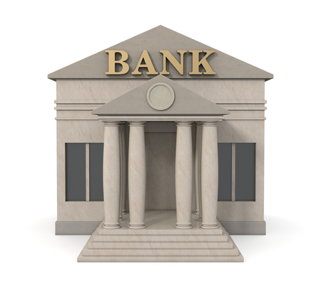 Front View Of A Bank Building 3d Render Stock Photo
