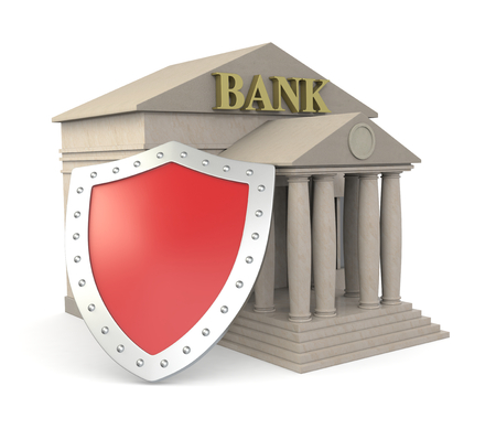 one bank building with a shield, concept of protection of your investments (3d render) photo
