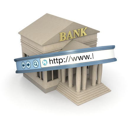 secure shopping: one bank building with an internet browser address bar, concept of online banking (3d render)