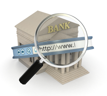 online safety: one bank building with an internet browser address bar and a magnifying glass, concept of online banking (3d render)