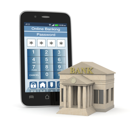 one bank building and a smartphone with an online banking app (3d render) photo