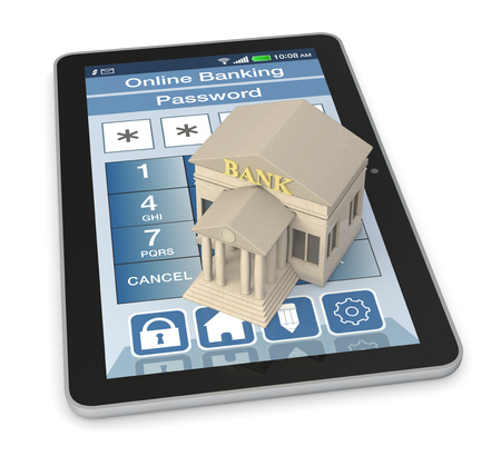 bank protection: one bank building and a tablet pc with an online banking app (3d render)