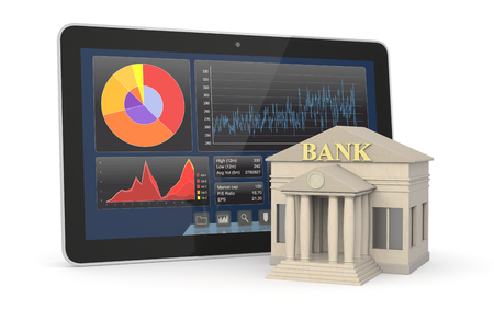 one bank building and a tablet pc with a stock market app, concept of investment and online banking (3d render) photo