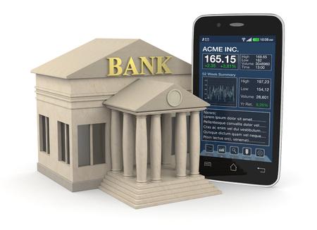 ein Bankgebäude und ein Smartphone mit einem Börsen App, Konzept der Anlage-und Online-Banking (3d render)