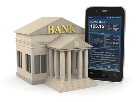 one bank building and a smartphone with a stock market app, concept of investment and online banking (3d render) photo
