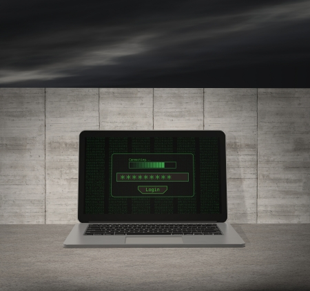 logon: one notebook with a login screen and a wall on background, concept of firewall and computer protection (3d render)