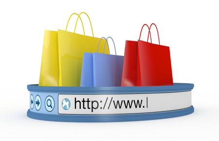 purchase icon: shopping bags with an internet browser address bar, concept of online shopping (3d render) Stock Photo