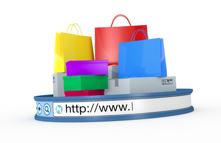 purchase icon: shopping bags and boxes with an internet browser address bar, concept of online shopping (3d render) Stock Photo