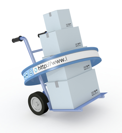 one trolley with a stack of carton boxes and an internet browser address bar, concept of online shopping and shipping service (3d render) photo