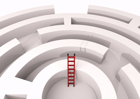 top view of a maze with a stair, concept of challenge and competition (3d render) photo