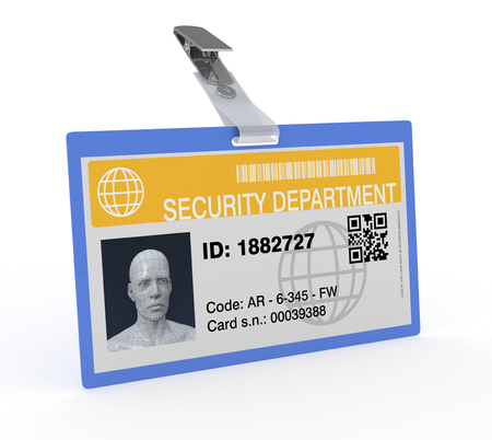 one badge of a security department, concept of protection and safety (3d render) photo