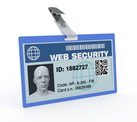 one badge with a 3d man head, concept of internet protection and safety (3d render) photo
