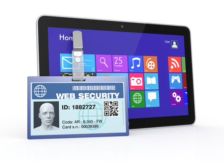 one badge with a 3d man head, and a tablet pc, concept of internet protection and safety (3d render) photo