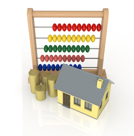one abacus with a house and stacks of coins, concept of real estate (3d render) photo