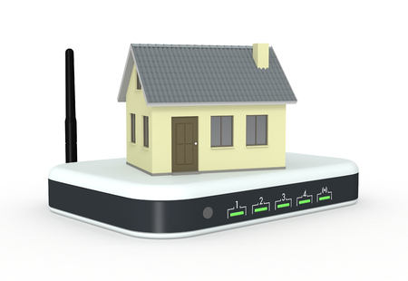 one small house on a wifi modem router, concept of internet (3d render) photo