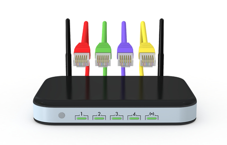 rj45: one modem router with network cables (3d render)