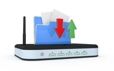 modem: one modem router with a computer folder and two arrows, concept of internet and uploaddownload (3d render) Stock Photo