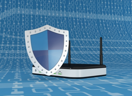 modem: one modem router with a shield, concept of internet security (3d render)