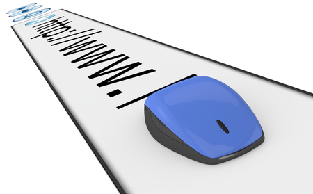 mouse cursor: browser address bar with a computer mouse (3d render)