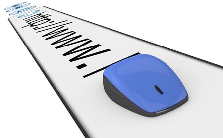 address bar: browser address bar with a computer mouse (3d render)