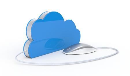 virtual servers: one computer mouse connected to a cloud, concept of cloud computing (3d render) Stock Photo