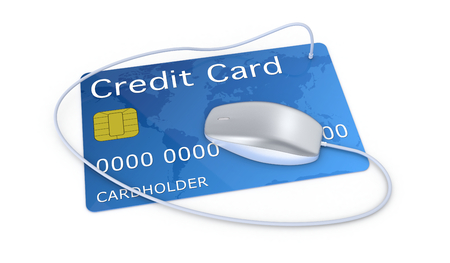 internet banking: one credit card with a computer mouse, concept of online finance (3d render)