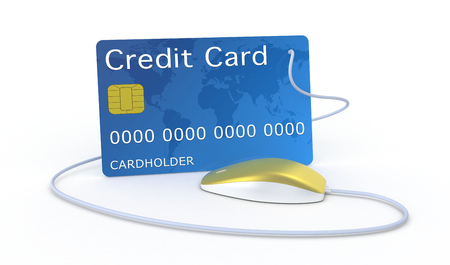electronic transaction: one credit card with a computer mouse, concept of online finance (3d render)