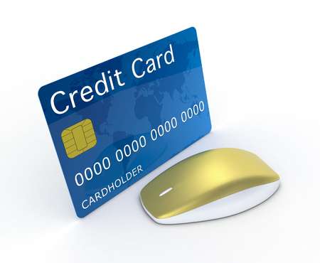 one credit card with a computer mouse, concept of online finance (3d render) photo