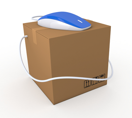 one carton box with a computer mouse, concept of online shopping (3d render) photo