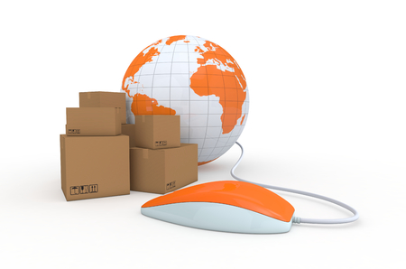 one carton box with a computer mouse and a world globe, concept of online shopping and shipping worldwide (3d render) photo