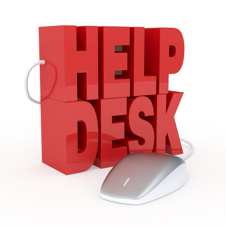 the text: help desk, with a computer mouse, concept of online assistance (3d render) Stock Photo