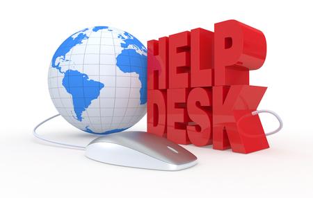 テキスト: ヘルプ デスク、コンピューターのマウスは、オンライン ヘルプの概念 (3 d レンダリング) 写真素材