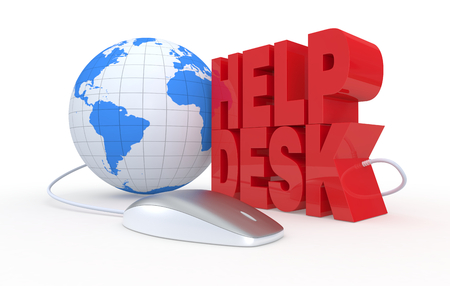 the text: help desk, with a computer mouse, concept of online assistance (3d render) photo