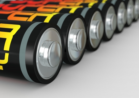 close up of a row of batteries (3d render) photo