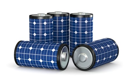 group of  batteries covered with a solar panel, concept of clean energy (3d render)