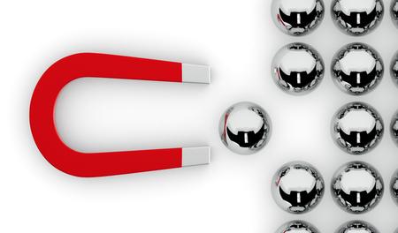 een magneet en een groep bollen. een van de bollen wordt getrokken door de magneet, concept van de concurrentie en leiderschap (3d render) Stockfoto