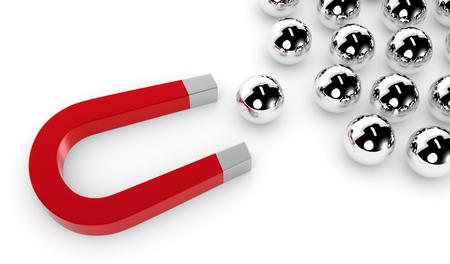 un aimant et un groupe de sphères. l'une des sphères est tiré par l'aimant, le concept de la concurrence et le leadership (rendu 3D)