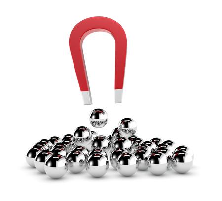 Einen Magneten und eine Gruppe von Kugeln. einige Kugeln werden durch den Magneten, das Konzept des Wettbewerbs und der Führung zog (3d render) Standard-Bild - 25079489
